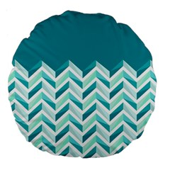 Zigzag Pattern In Blue Tones Large 18  Premium Flano Round Cushions by TastefulDesigns