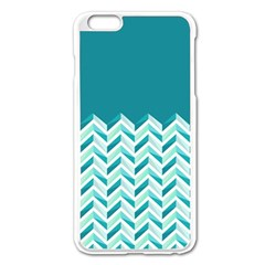 Zigzag Pattern In Blue Tones Apple Iphone 6 Plus/6s Plus Enamel White Case by TastefulDesigns