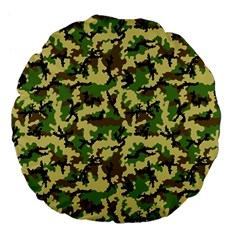 Camo Woodland Large 18  Premium Flano Round Cushions by sifis