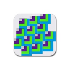 Geometric 3d Mosaic Bold Vibrant Rubber Coaster (square)  by Amaryn4rt