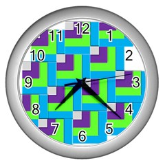 Geometric 3d Mosaic Bold Vibrant Wall Clocks (silver)  by Amaryn4rt