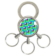 Geometric 3d Mosaic Bold Vibrant 3 Ring Key Chains by Amaryn4rt