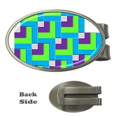 Geometric 3d Mosaic Bold Vibrant Money Clips (oval)  by Amaryn4rt
