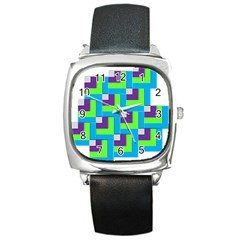 Geometric 3d Mosaic Bold Vibrant Square Metal Watch by Amaryn4rt