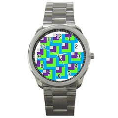 Geometric 3d Mosaic Bold Vibrant Sport Metal Watch by Amaryn4rt
