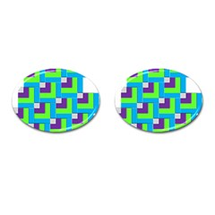 Geometric 3d Mosaic Bold Vibrant Cufflinks (oval) by Amaryn4rt