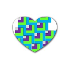 Geometric 3d Mosaic Bold Vibrant Heart Coaster (4 Pack)  by Amaryn4rt