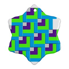 Geometric 3d Mosaic Bold Vibrant Snowflake Ornament (two Sides) by Amaryn4rt