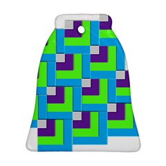Geometric 3d Mosaic Bold Vibrant Bell Ornament (two Sides) by Amaryn4rt