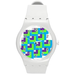 Geometric 3d Mosaic Bold Vibrant Round Plastic Sport Watch (m) by Amaryn4rt