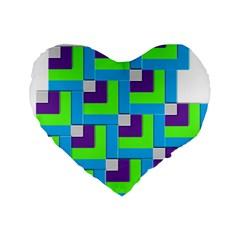 Geometric 3d Mosaic Bold Vibrant Standard 16  Premium Heart Shape Cushions by Amaryn4rt