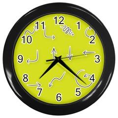 Arrow Line Sign Circle Flat Curve Wall Clocks (black) by Amaryn4rt