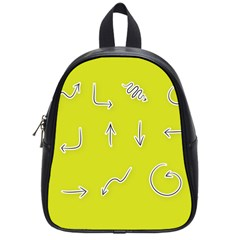 Arrow Line Sign Circle Flat Curve School Bags (small)  by Amaryn4rt
