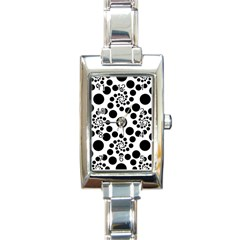 Dot Dots Round Black And White Rectangle Italian Charm Watch by Amaryn4rt