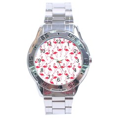 Flamingo Pattern Stainless Steel Analogue Watch by Valentinaart