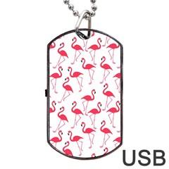 Flamingo Pattern Dog Tag Usb Flash (two Sides)