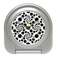 Dot Dots Round Black And White Travel Alarm Clocks by Amaryn4rt