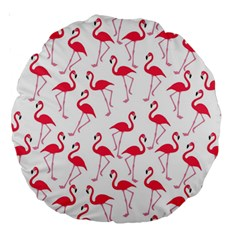Flamingo Pattern Large 18  Premium Round Cushions by Valentinaart