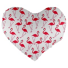 Flamingo Pattern Large 19  Premium Heart Shape Cushions by Valentinaart