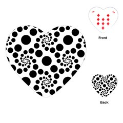Dot Dots Round Black And White Playing Cards (heart)  by Amaryn4rt