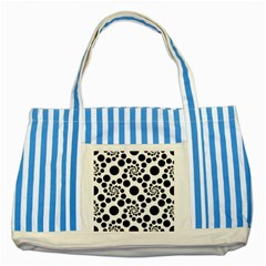 Dot Dots Round Black And White Striped Blue Tote Bag by Amaryn4rt