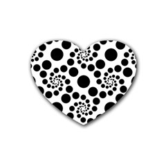 Dot Dots Round Black And White Rubber Coaster (heart)  by Amaryn4rt