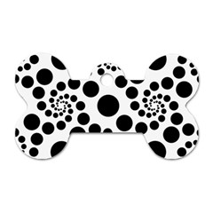 Dot Dots Round Black And White Dog Tag Bone (one Side) by Amaryn4rt