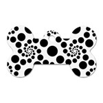 Dot Dots Round Black And White Dog Tag Bone (Two Sides) Front