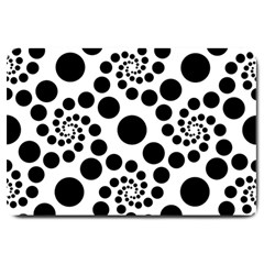 Dot Dots Round Black And White Large Doormat  by Amaryn4rt