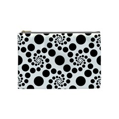 Dot Dots Round Black And White Cosmetic Bag (medium)  by Amaryn4rt