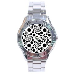 Dot Dots Round Black And White Stainless Steel Analogue Watch by Amaryn4rt