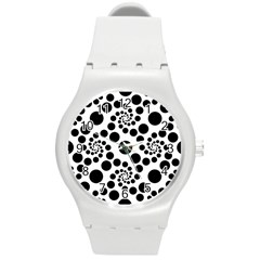 Dot Dots Round Black And White Round Plastic Sport Watch (m) by Amaryn4rt