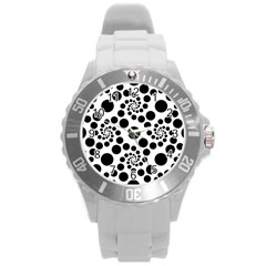 Dot Dots Round Black And White Round Plastic Sport Watch (l) by Amaryn4rt