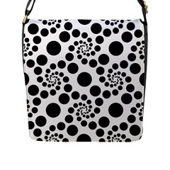 Dot Dots Round Black And White Flap Messenger Bag (l)  by Amaryn4rt