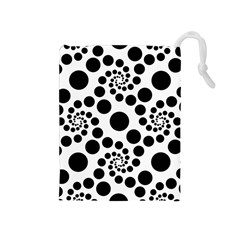 Dot Dots Round Black And White Drawstring Pouches (medium)  by Amaryn4rt