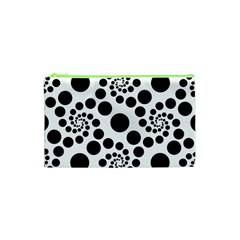 Dot Dots Round Black And White Cosmetic Bag (xs) by Amaryn4rt