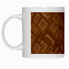 Brown Pattern Rectangle Wallpaper White Mugs by Amaryn4rt