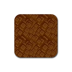 Brown Pattern Rectangle Wallpaper Rubber Square Coaster (4 Pack)  by Amaryn4rt