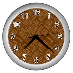 Brown Pattern Rectangle Wallpaper Wall Clocks (silver)  by Amaryn4rt