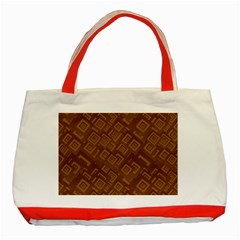 Brown Pattern Rectangle Wallpaper Classic Tote Bag (red) by Amaryn4rt