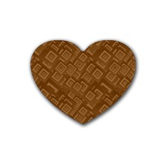 Brown Pattern Rectangle Wallpaper Rubber Coaster (heart)  by Amaryn4rt