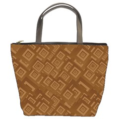 Brown Pattern Rectangle Wallpaper Bucket Bags by Amaryn4rt