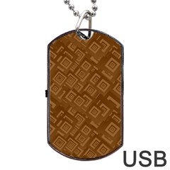 Brown Pattern Rectangle Wallpaper Dog Tag Usb Flash (two Sides) by Amaryn4rt