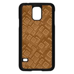 Brown Pattern Rectangle Wallpaper Samsung Galaxy S5 Case (black) by Amaryn4rt
