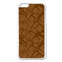 Brown Pattern Rectangle Wallpaper Apple Iphone 6 Plus/6s Plus Enamel White Case by Amaryn4rt