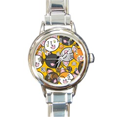 Cats Pattern Round Italian Charm Watch by Valentinaart
