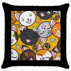 Cats Pattern Throw Pillow Case (black) by Valentinaart
