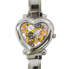 Cats Pattern Heart Italian Charm Watch by Valentinaart