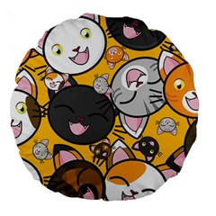 Cats Pattern Large 18  Premium Round Cushions by Valentinaart
