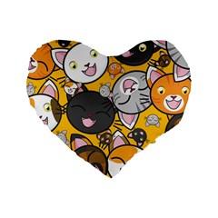 Cats Pattern Standard 16  Premium Heart Shape Cushions by Valentinaart